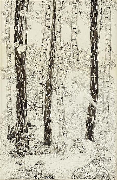 JESSIE MARION KING (1875-1949) IN THE FOREST pen, ink and wash on vellum, signed