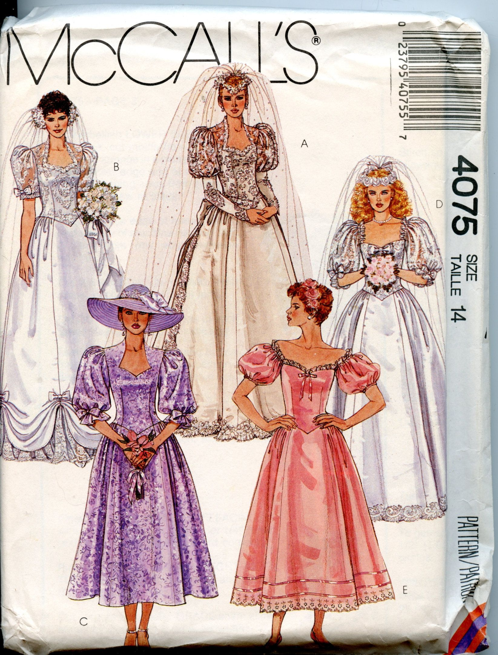 80s Bridal Gown Pattern Puff Sleeves Size 14 Bust 36