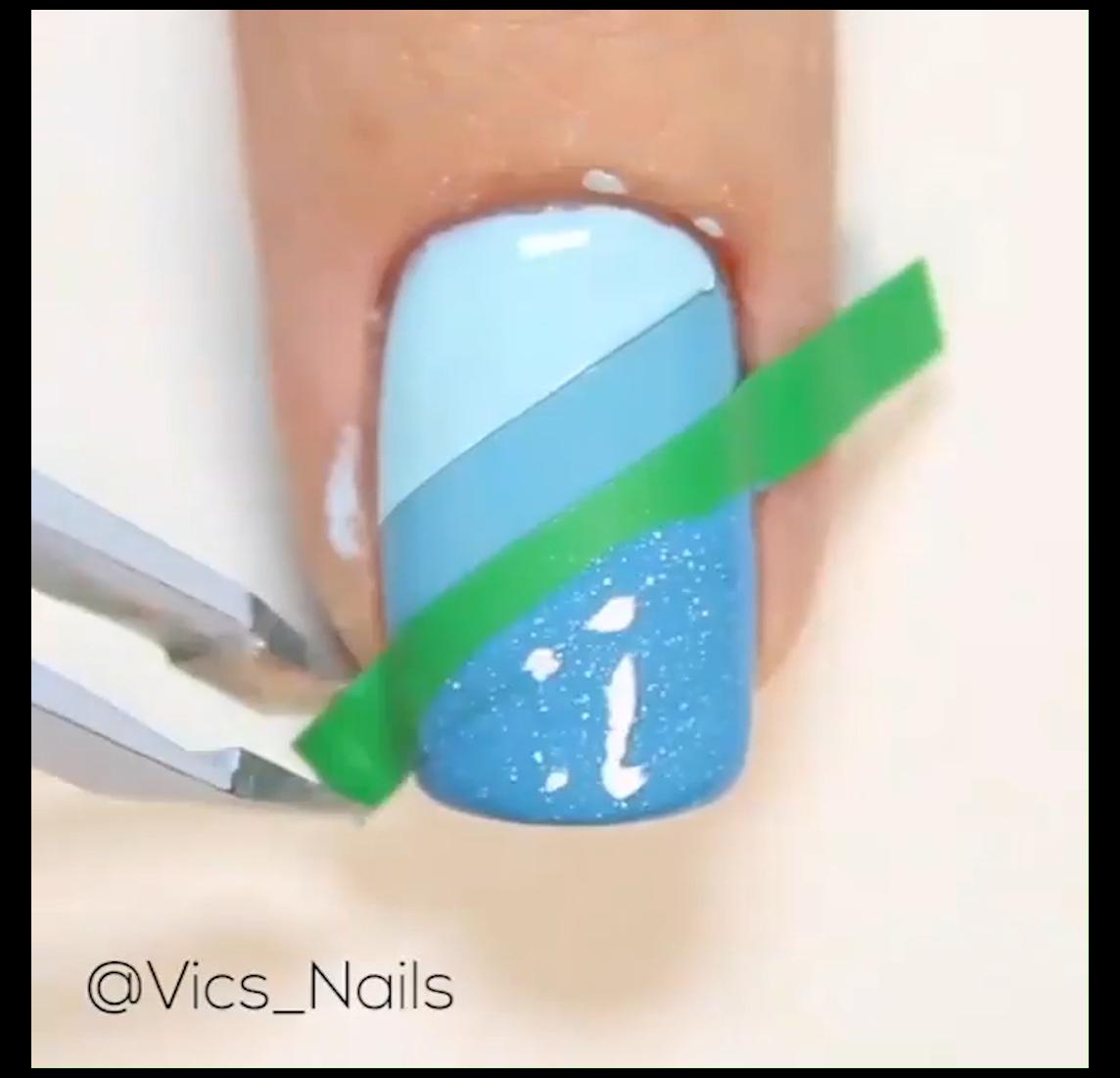 simple nail designs videos SUPER EASY BLUE NAIL DE