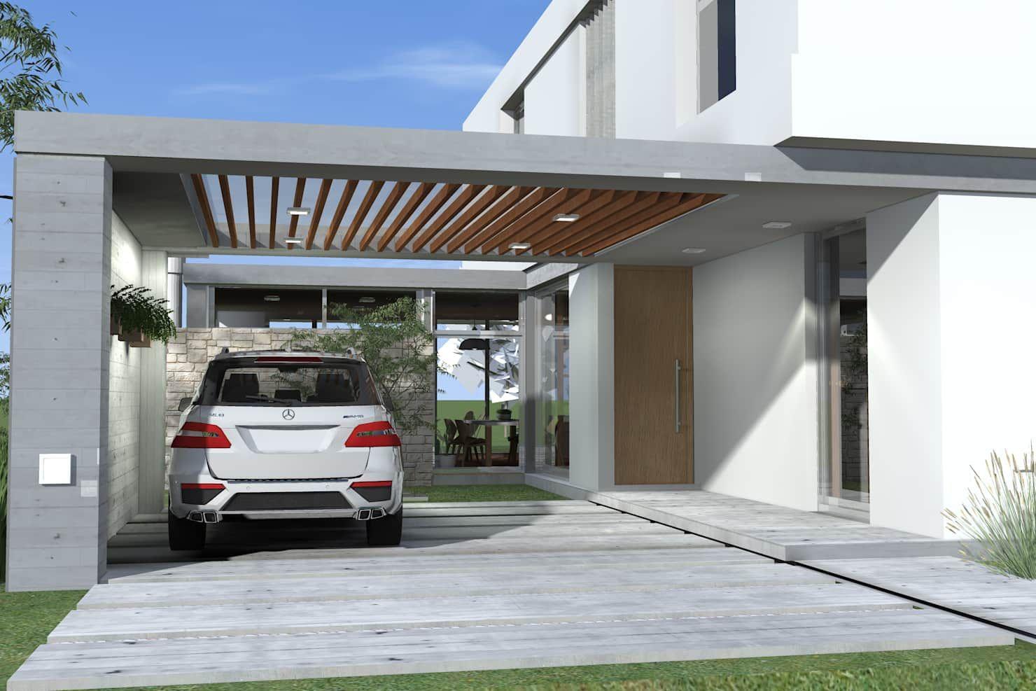 Cochera semicubierta garajes modernos de arquitectura bur