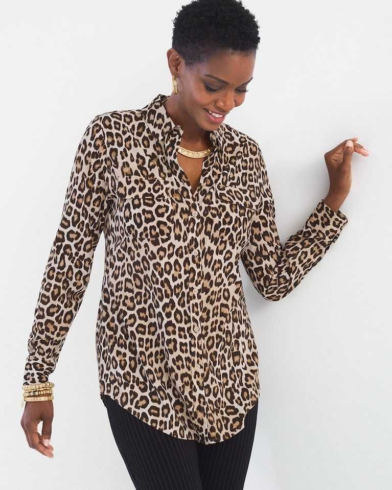 387e5aed088cee Chico s Women s Silky Soft Leopard-Print Shirt