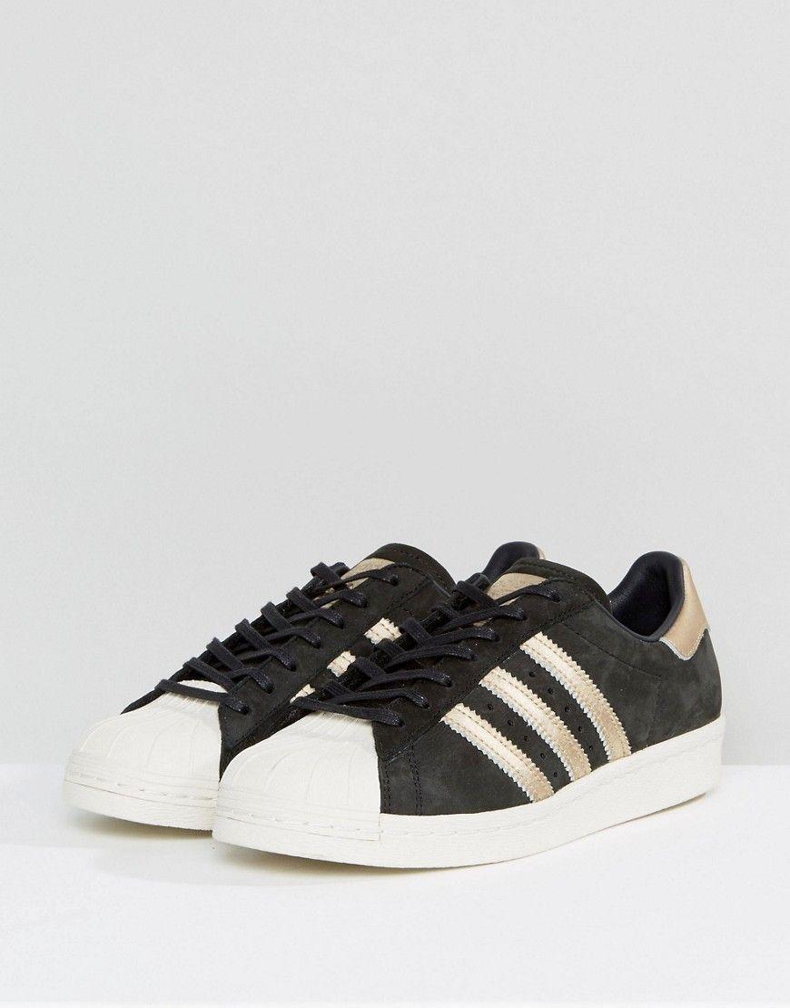 Adidas originali di colore nero e oro superstar degli anni '80, scarpe nere
