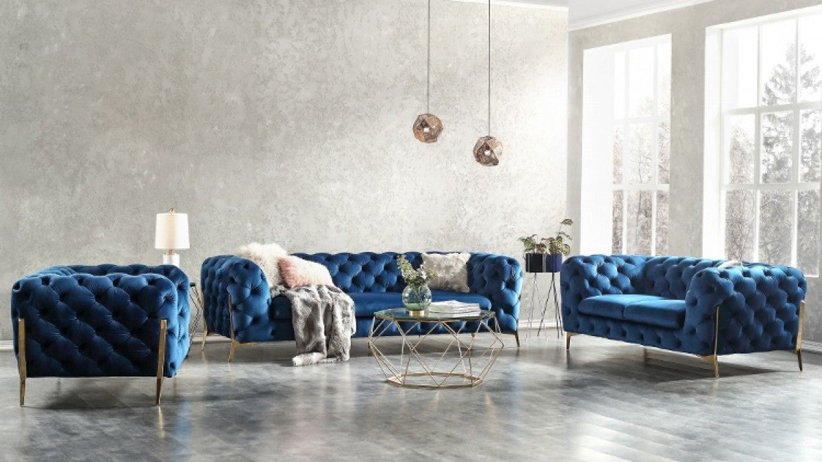 Divani casa sheila modern dark blue fabric sofa set living room