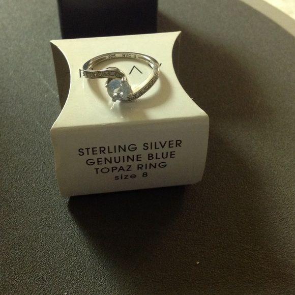 Topaz Ring Avon Sterling Silver Genuine Blue Topaz Ring Size 8 Avon Jewelry Rings