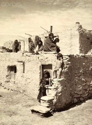 Remarkable Hopi Indian Children In Front Of An Adobe Styled Building Interior Design Ideas Inesswwsoteloinfo