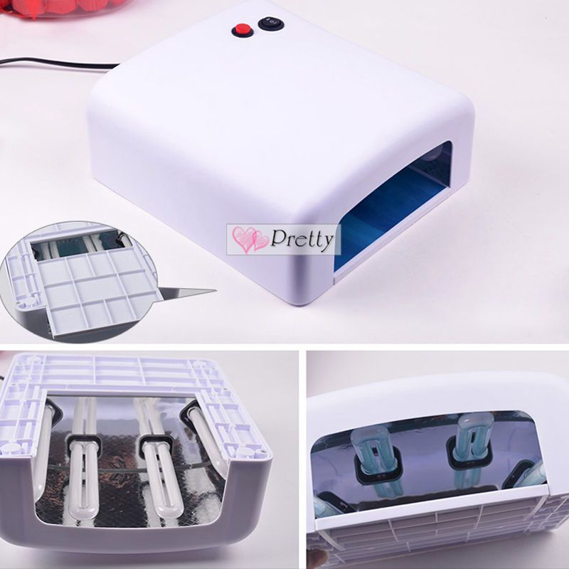 Pro 36w 110v 220v Uv Nail Art Gel 4 Tube Lamp Curing Polish Light Tips Dryer Unbranded Light Gels Gel Nails Gel Primer