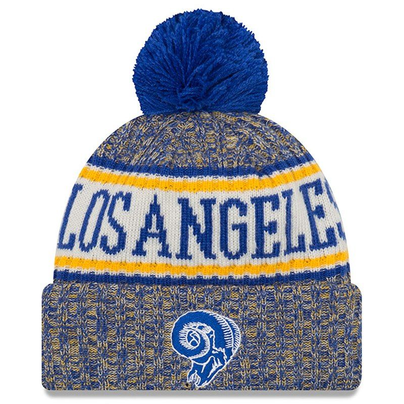 d896cba7dbe Los Angeles Rams New Era 2018 NFL Sideline Cold Weather Official Historic  Sport Knit Hat – Royal