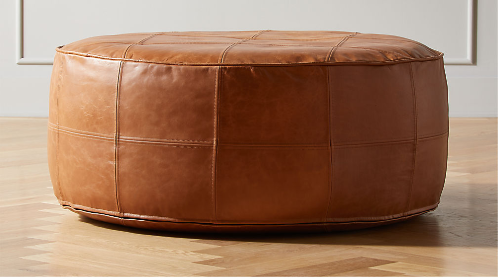 Round Saddle Leather Pouf Ottoman Reviews Cb2 Leather Pouf Ottoman Brown Leather Ottoman Leather Ottoman Coffee Table