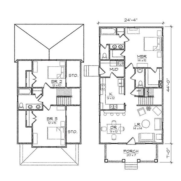 Sketch Asbury III Bungalow Floor Plan House Plans 244 x 510 jpg