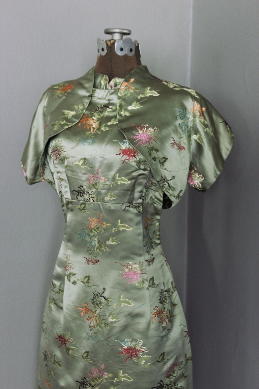 60er Jahre chinesische Chinoiserie Floral Satin von OpenedApples