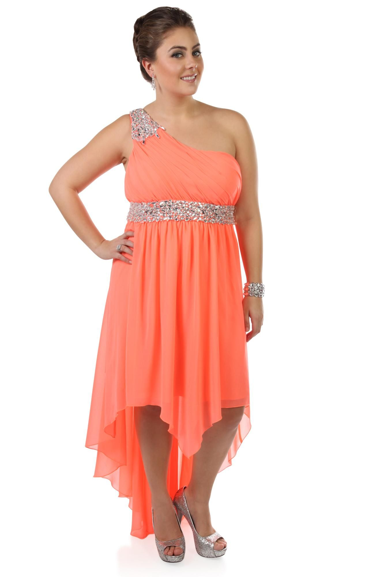 Deb Shops #neon #coral plus size beaded one shoulder chiffon high ...