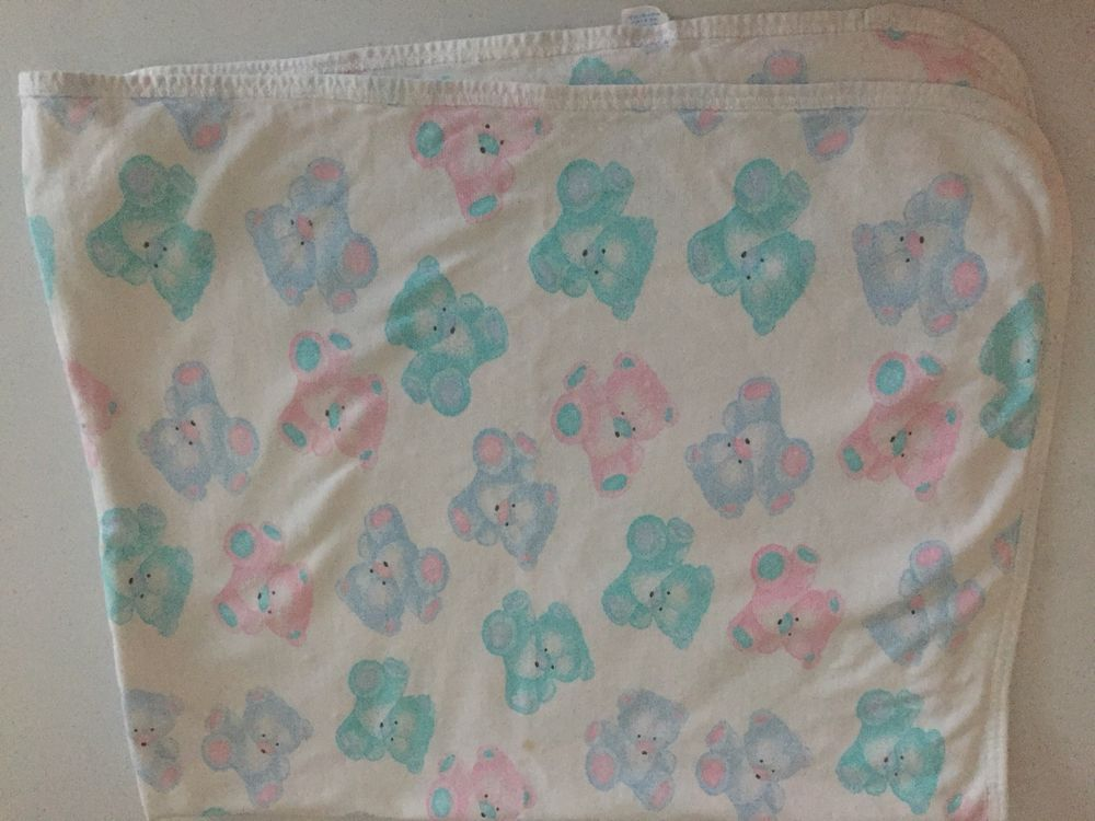 ac53a92f15 Carters White Blue Green Pink Teddy Bear Baby Blanket Cotton Pastel Vintage   Carters  vintagecarters  vintagebabyblanket