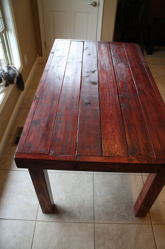Merveilleux Beautiful Dark Red Oak Stained Primitive Kitchen Table Custom Made Sizes To  Order Different Colors Upon Request Matching Benches Available Via Etsy