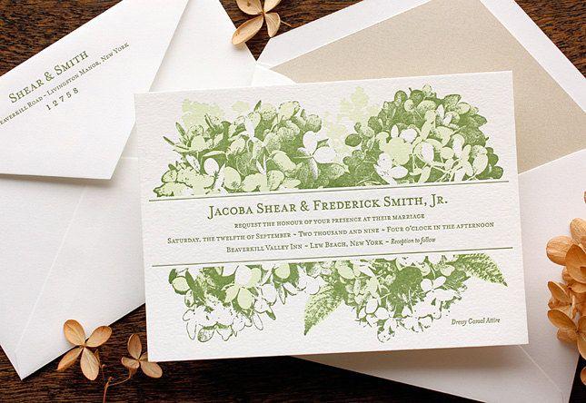Letterpress Wedding Invitation Sample Hydrangea Flower
