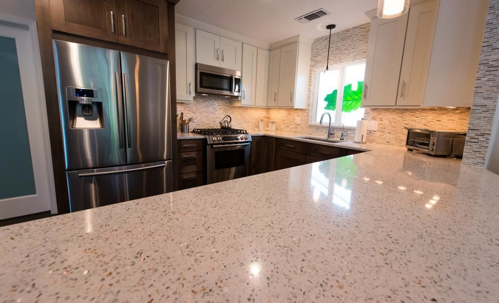 Check Out How This Beautiful Kitchen Remodel Uses Savaii By Curava Recycled Glass