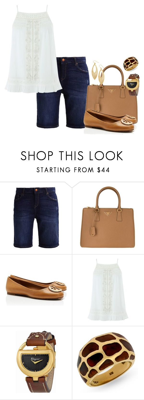 """""""Untitled #2330"""" by skinny-jeannie ❤ liked on Polyvore featuring ESPRIT, Prada, Tory Burch, Monsoon, Salvatore Ferragamo and Argento Vivo"""