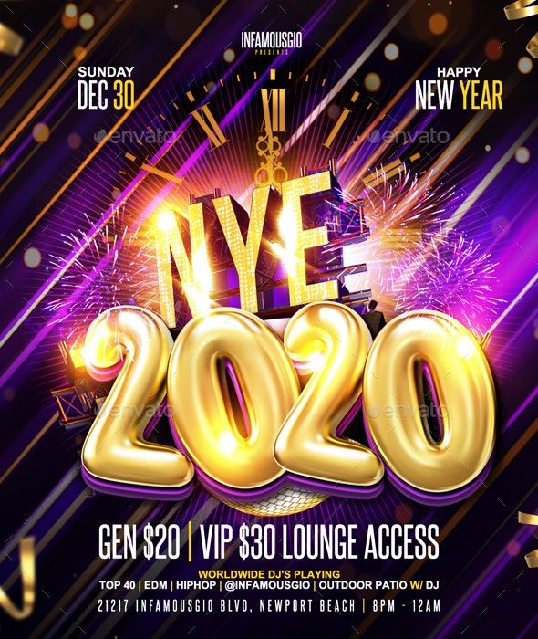 Nye 2020 Flyer template, Flyer, Party flyer