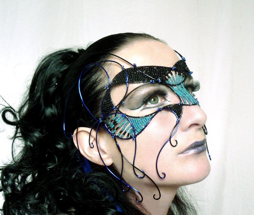 Black and blue cyber goth masquerade mask, handmade. $350.00, via Etsy.
