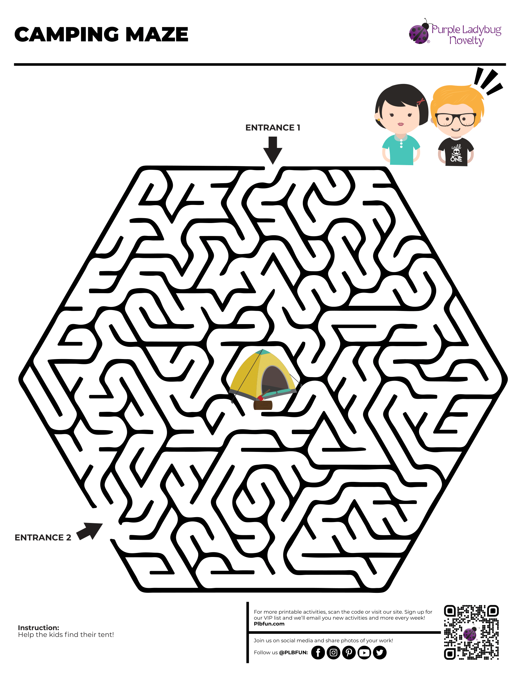 Camping Maze by PLBfun in 2020 Free printable activities