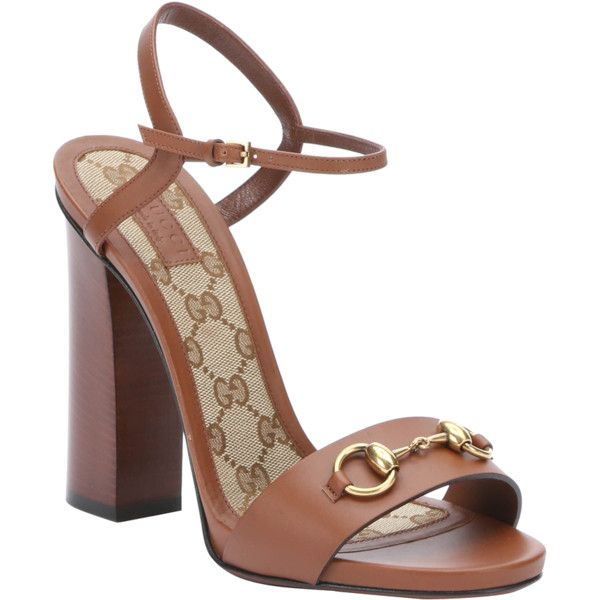 224fcd91fcb Gucci Brown Leather Horsebit  lifford  Heel Sandals (385848801) featuring  polyvore