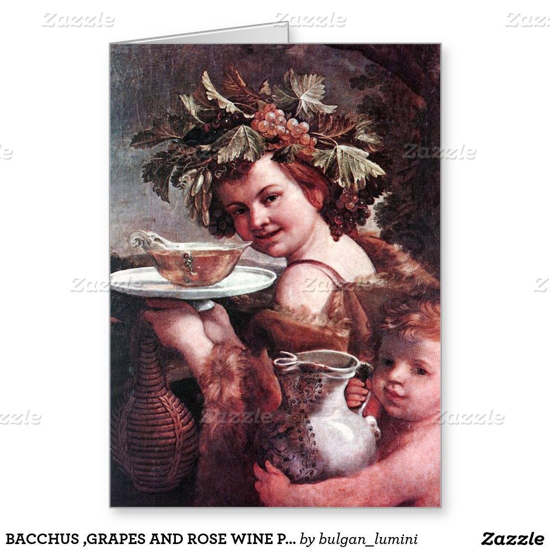 BACCHUS ,GRAPES AND ROSE WINE PARCHMENT Birthday Greeting Card