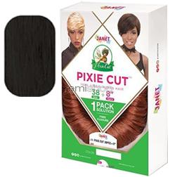 """Janet Collection Pixie Cut 8"""" - Color 1 - Human Weaving - 38 pcs + 4 pcs"""