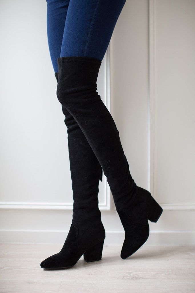 6665edd6191 Ellis' Black Classic Over The Knee Suede Leather Boots | shoes ...