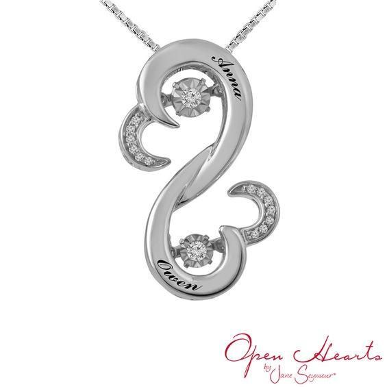Zales Open Hearts Waves by Jane Seymour Couples Birthstone and Diamond Accent Pendant (2 Stones and Names) aSCAA54na5