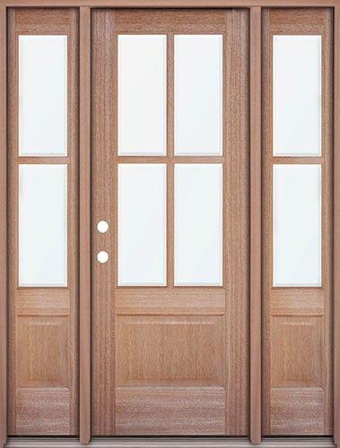 Discount 4 Lite Mahogany Prehung Wood Door Unit With Sidelites Wood Doors Mahogany Wood Doors Discount Interior Doors