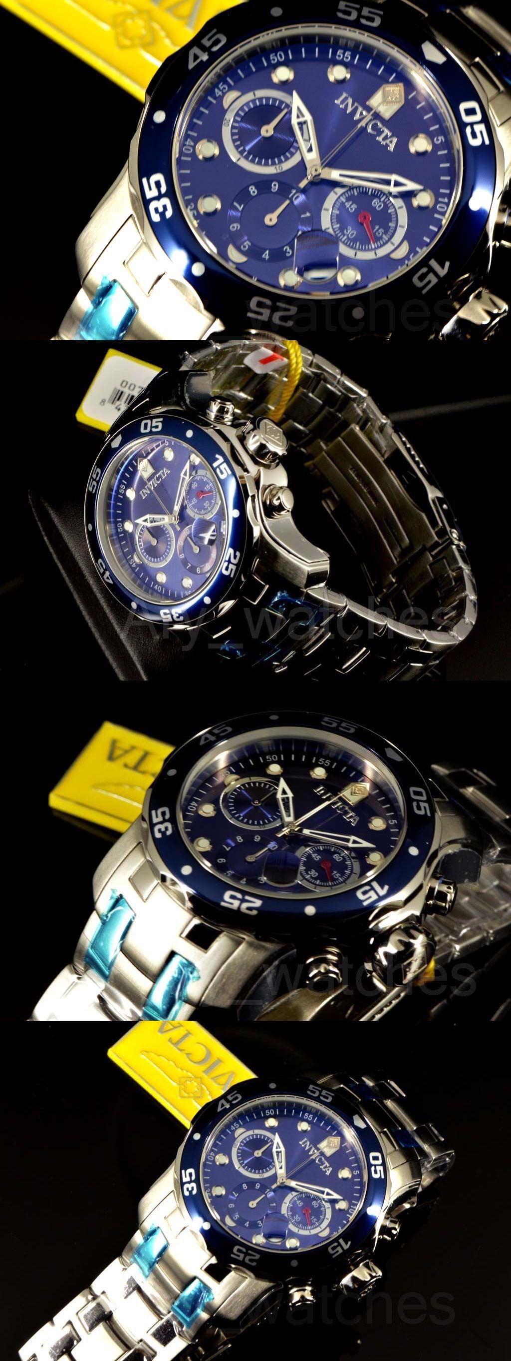 Wristwatches 31387 Invicta Men S Pro Diver Scuba Blue Dial Swiss Mk3278 Chrono Steel Bracelet Watch