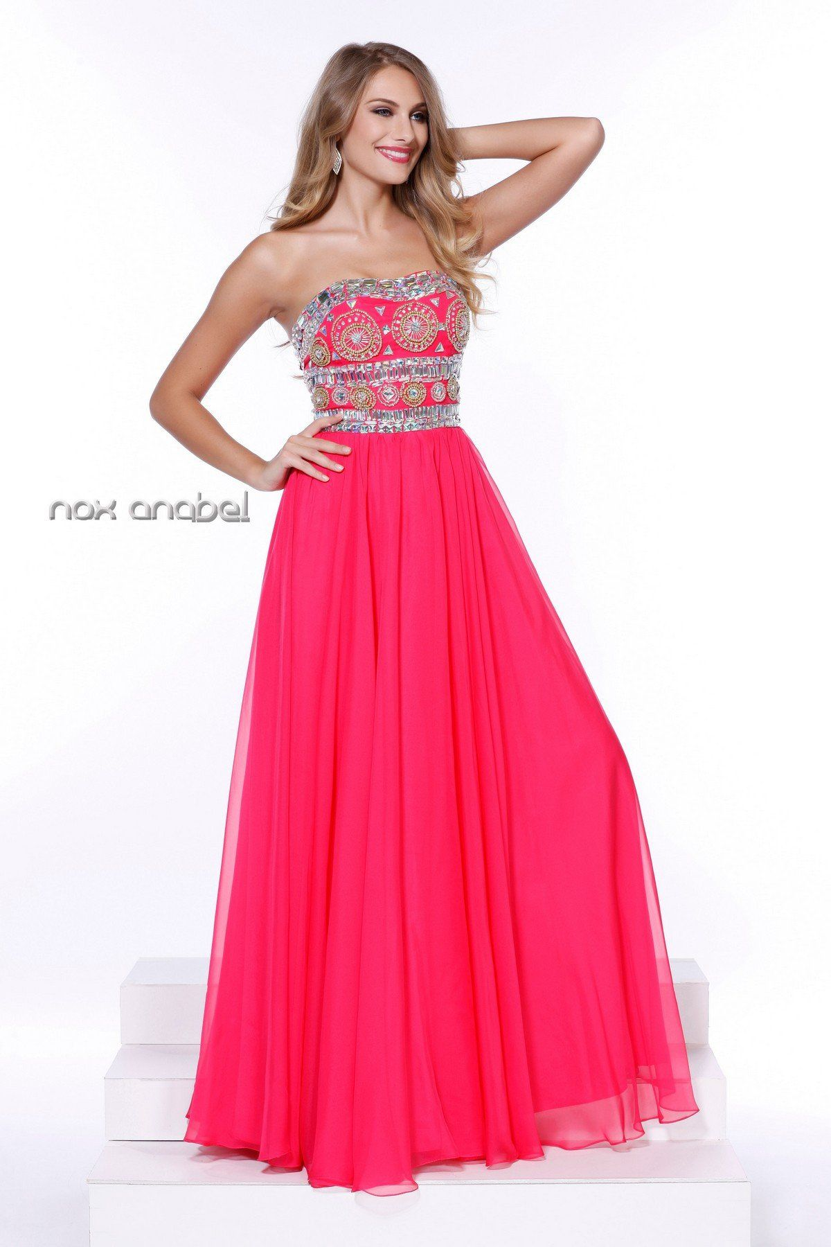 Lovely long strapless beaded dress by nox anabel products