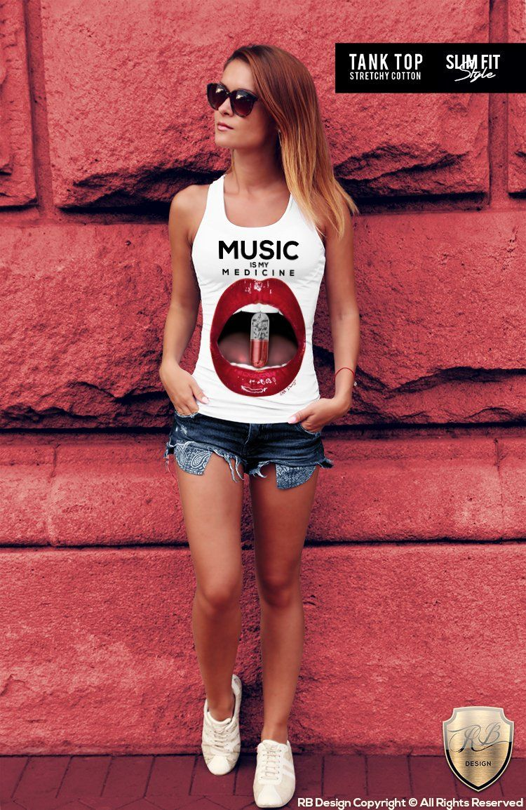 a9fcd4f2dfc544 Red Lips Women's T-shirt Music Is My Medicine Ladies Festival Tank ...