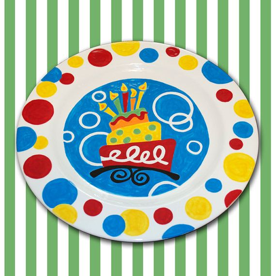 Hand Painted Birthday Plate by cliquecreative on Etsy $35.00  sc 1 st  Pinterest & Hand Painted Birthday Plate by cliquecreative on Etsy $35.00 | DIY ...