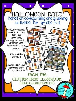 Halloween Categorizing and Graphing Data Activities {Common Core aligned} - $ - Over 25 pages! This packet supplements TERC Investigations Grade 3, Unit 2 curriculum, but it is also a stand alone project. - Us it for math centers or for early finishers! It will develop knowledge of data, sorting, graphing, classifying, categorizing and interpreting data!