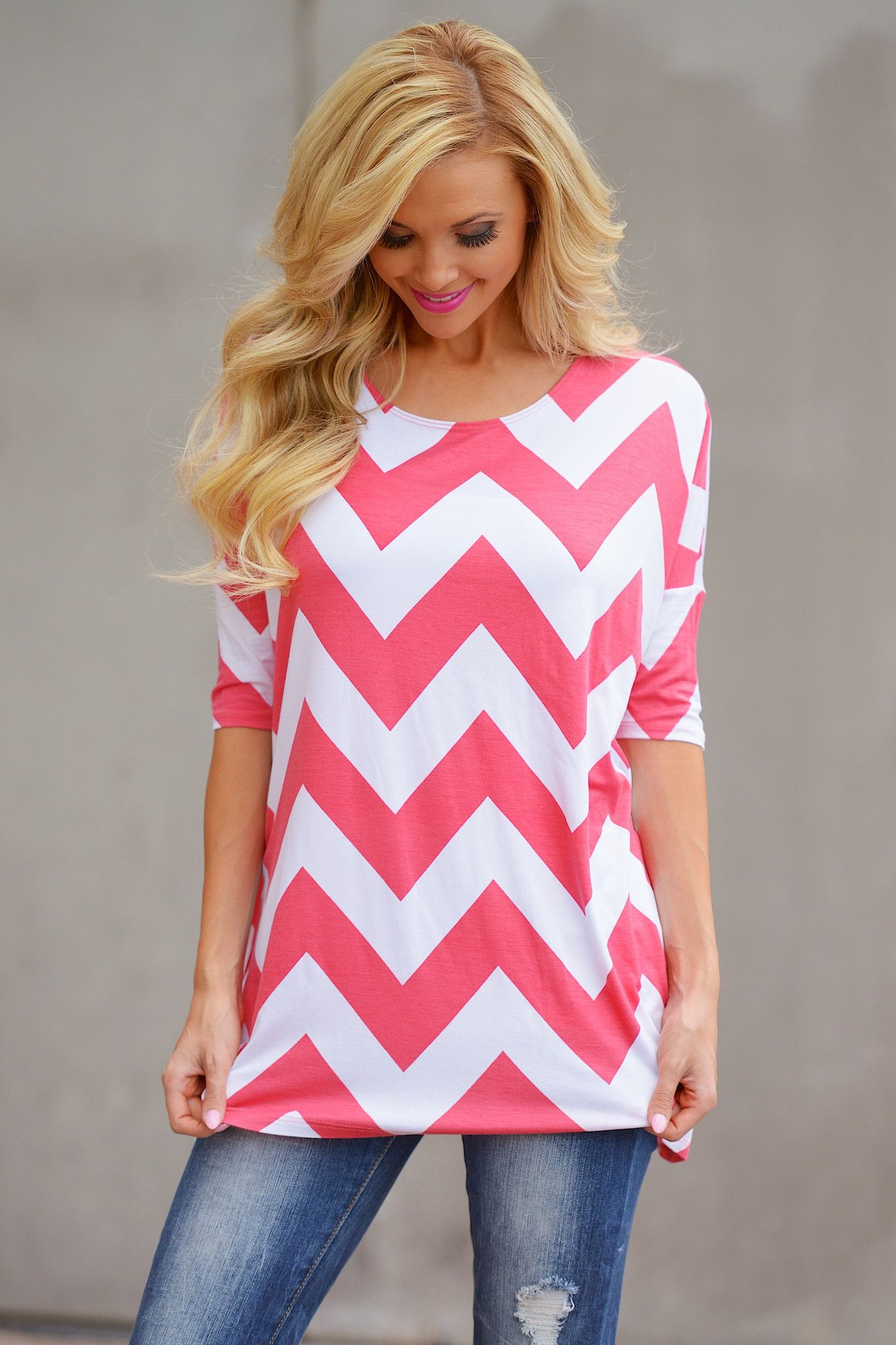 Here To Stay Chevron Top - Coral from Closet Candy Boutique ...