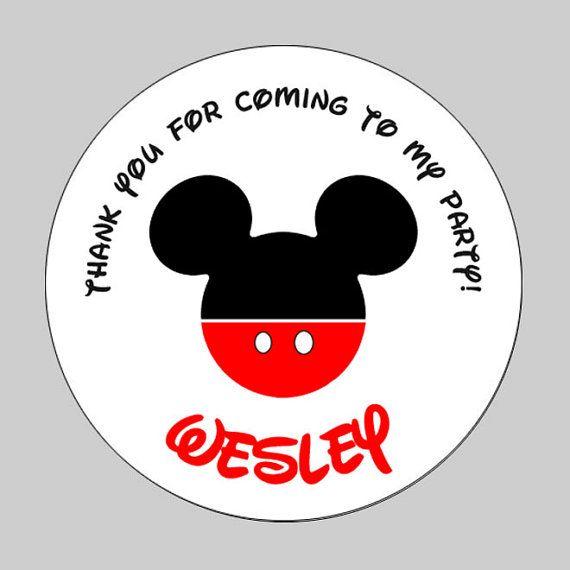 20 Personalized Round Mickey Birthday Labels by wackykracker