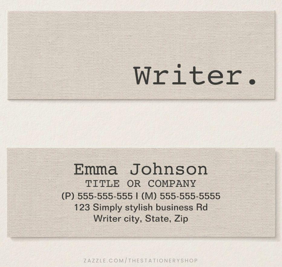 Modern Writer Or Author Personal Profile Or Mini Business Card Zazzle Com Mini Business Card Business Card Modern Professional Business Cards