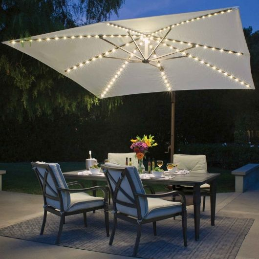 bali pro 10 ft wide starlight umbrella with natural offset patio design costco feit string lights