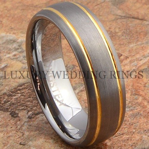 Like Tungsten Mens Ring 7mm 14k Gold Wedding Band Anium Color Brushed Size 6 13 Ebay