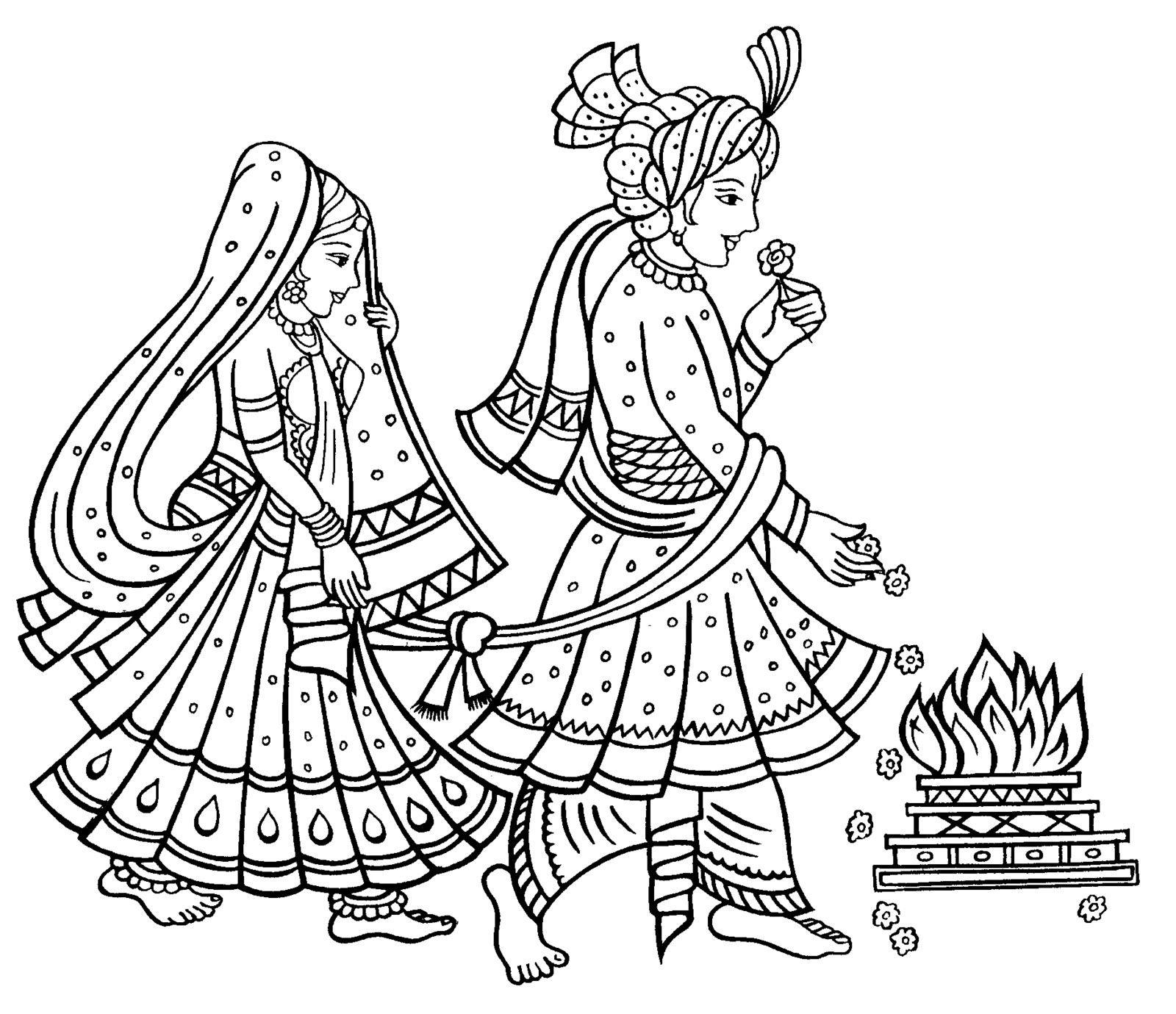 Saat Phere Tying The Bonds Of Holy Matrimony Jpg W 490 1600 1380 Wedding Drawing Wedding Symbols Indian Art Paintings