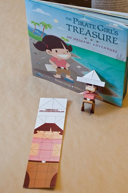 These unique bookmarks not only help keep your page in your books, but after a couple folds it becomes your very own Origami Pirate Girl!