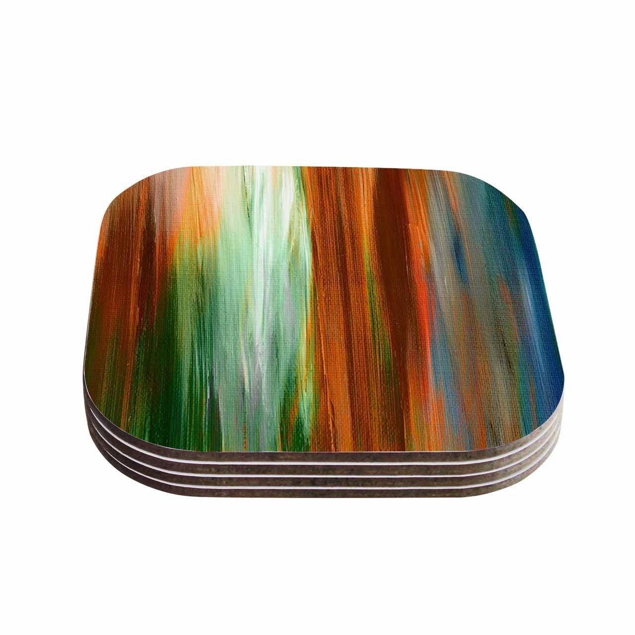 Kess InHouse Ebi Emporium 'Irradiated 4' Brown Green Coasters (Set of 4) (Irradiated 4) (Wood)