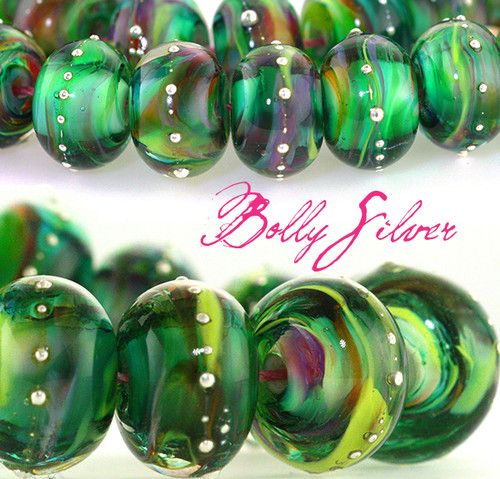 #Handmade Glass #Lampwork #Beads Bolly Silver Petite Round Strand by Radiantmind | grabs these at a steal of a deal today on eBay :~)