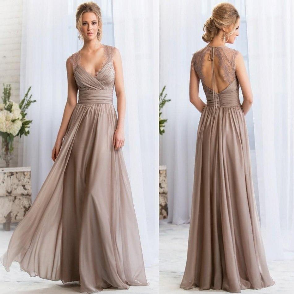 vneck long silver bridesmaid dresses lace keyhole back prom