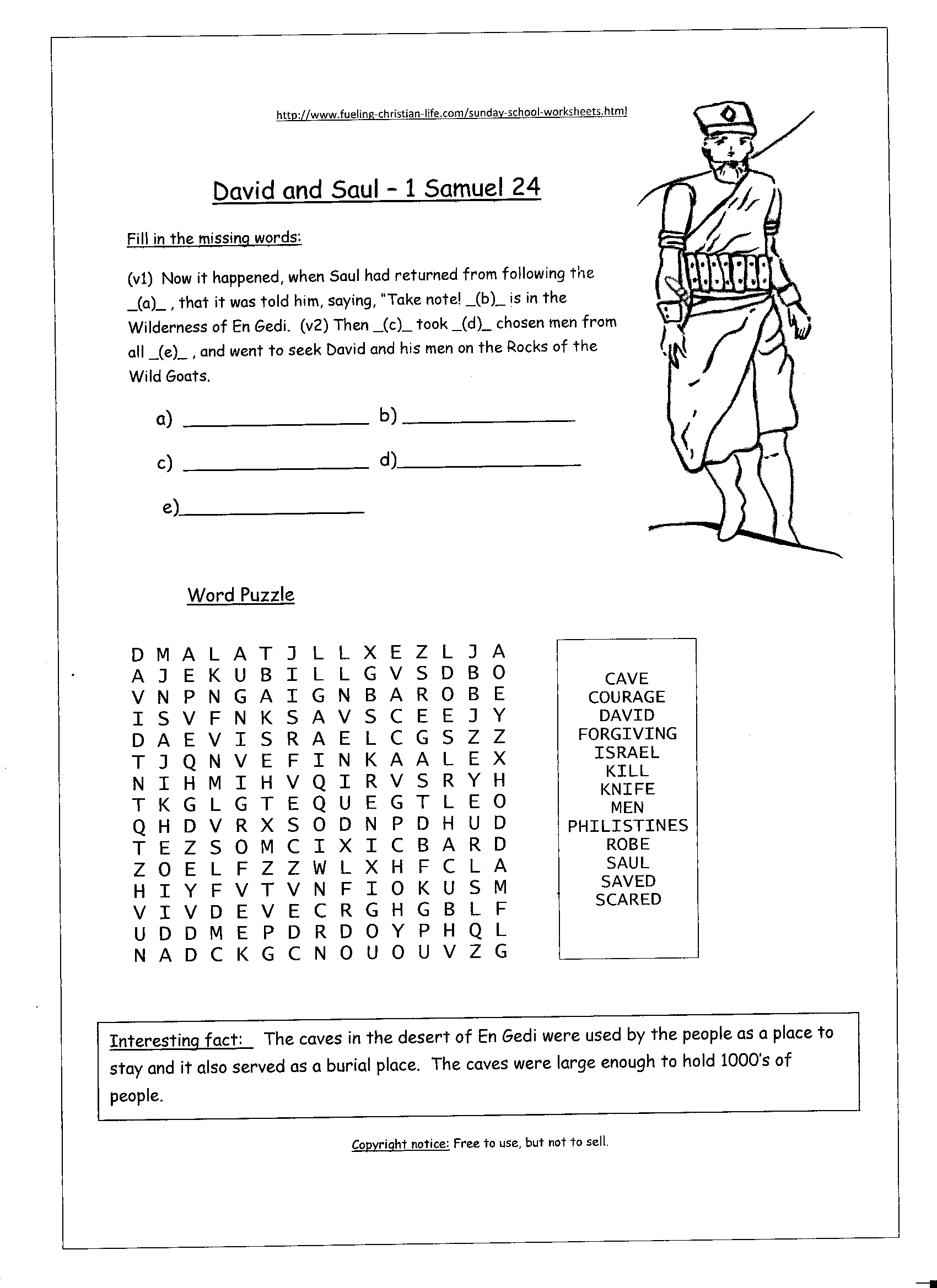 David And Saul Sunday School Worksheet With Images