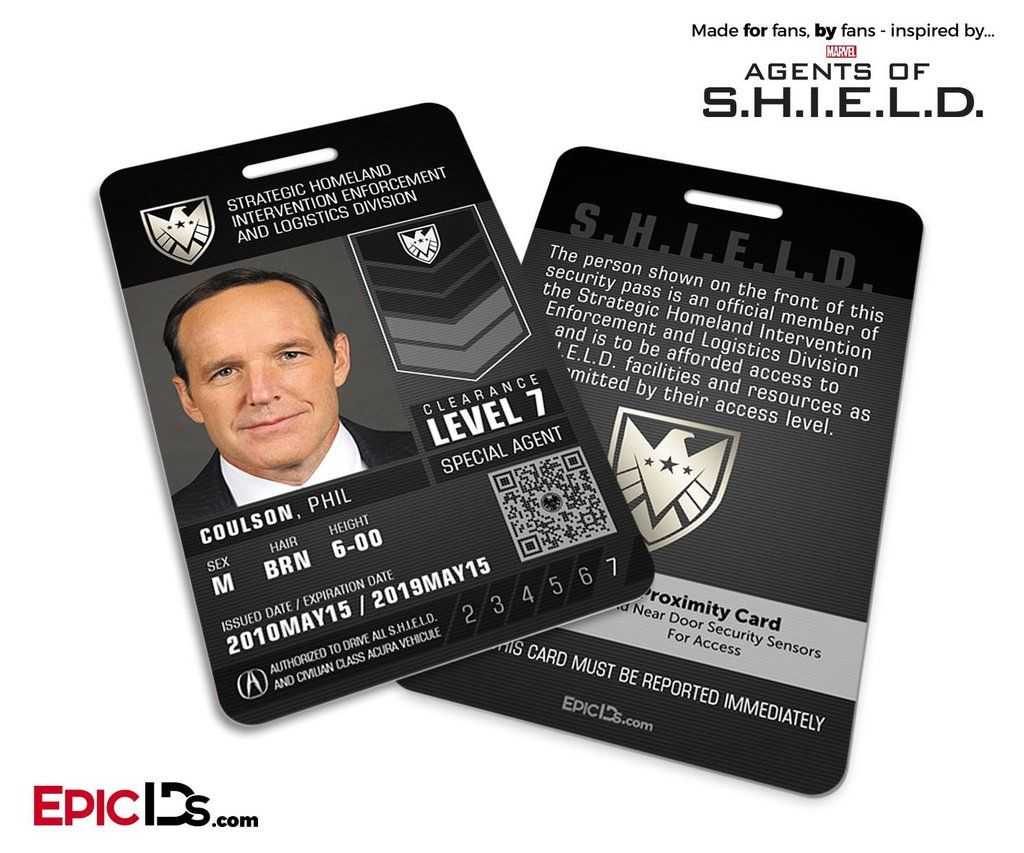 Agents Of Shield Inspired Real Shield Agent Id Phil Coulson Agents Of Shield Clint Barton Marvel Shield