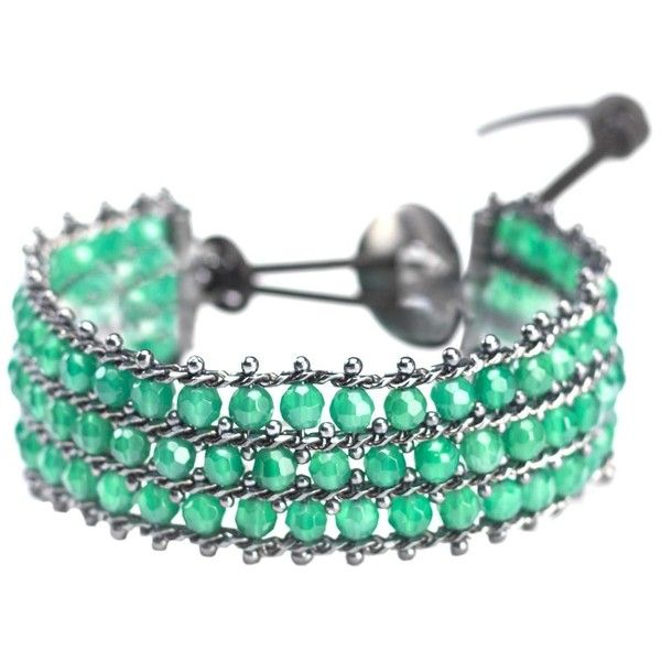 First People First Bracelet (3 625 SEK) ❤ liked on Polyvore featuring jewelry, bracelets, green, beading jewelry, beaded jewelry, green jewelry and bead jewellery