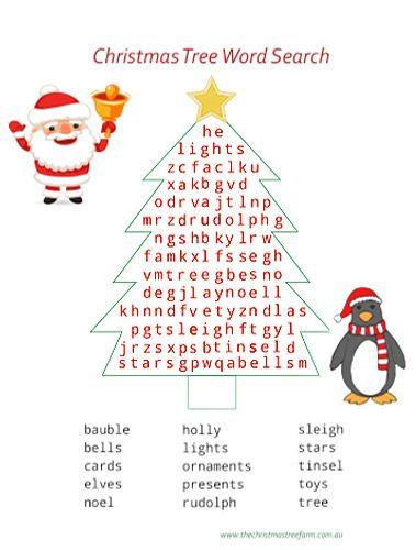 Christmas Tree Word Search Kids Christmas Christmas Tree Farm Christmas Printables Star Cards