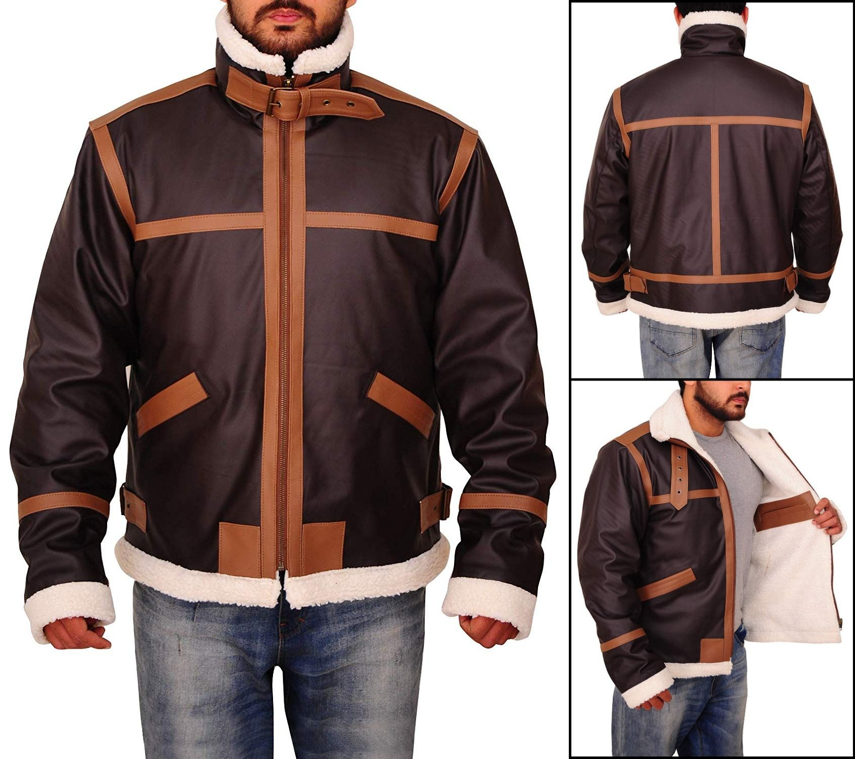 Men's Faux Fur Brown Motorcycle Bomber Shearling Stand