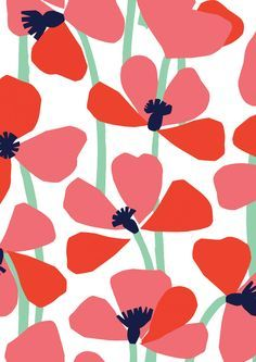 pattern by Minakani, modern, simple, graphic, floral, poppy, nature